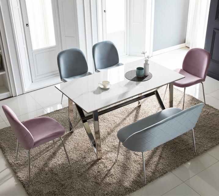 브롬 세라믹 4인 식탁 세트 (의자형/의자4ea) /월 43,800원 (핑크색의자로출고) ★전화상담시 색상선택★
