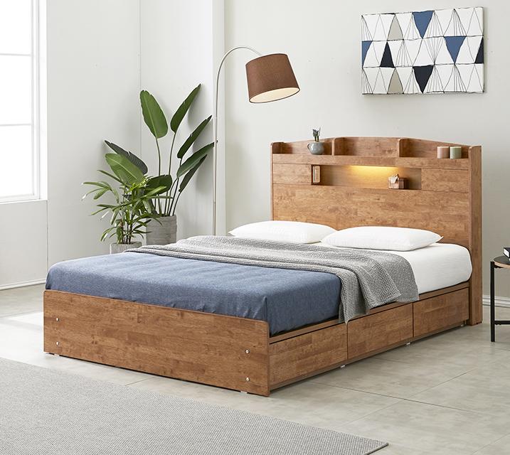 베스 고무나무 LED 3단 서랍 침대 퀸 (Q) / 월 27,800원