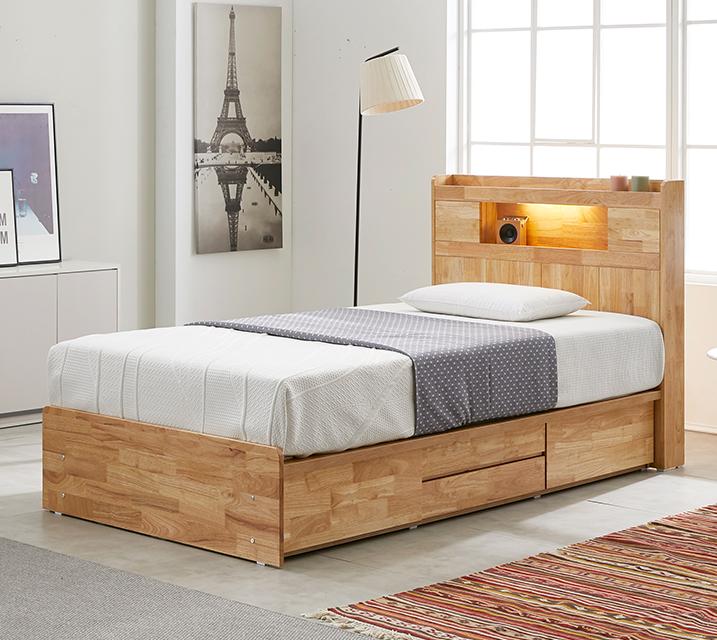 체리 고무나무 LED 4단 서랍 침대 슈퍼싱글 (SS) 침대세트[독립소프트폼 매트리스포함] / 월 29,800원