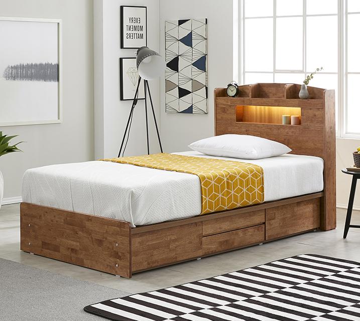 베스 고무나무 LED 4단 서랍 침대 슈퍼싱글 (SS) / 월 25,800원