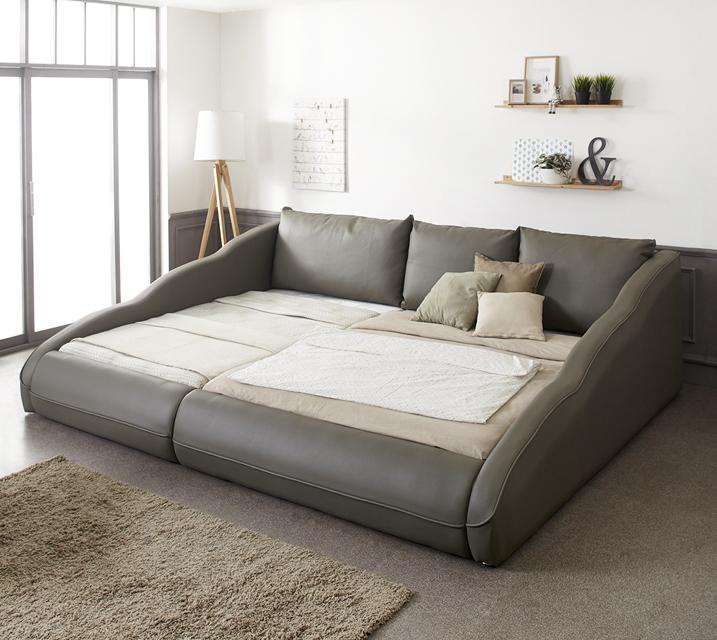 지안 샤무드가죽 저상형 패밀리 침대 Q+SS (플라스틱 깔판 포함) / 월49,800원