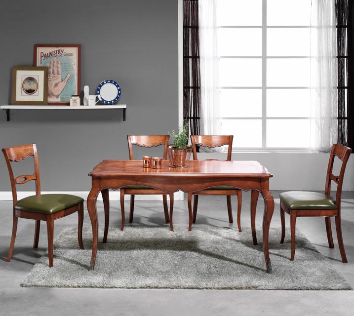 쇼콜라 프렌치 빈티지 식탁 6인세트 (의자형 / 의자6ea) / 월 99,800원